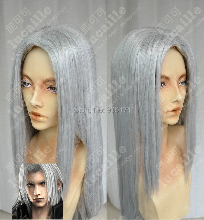 free Shipping***Final Fantasy Sephiroth COS wig New Long Silver gray Cosplay Straight wigs 100CM