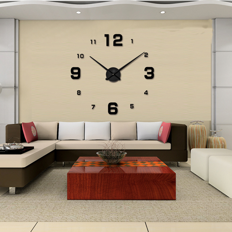 3D DIY Wall Clock Home Decor Quartz Clocks Modern Fashion Acrylic Mirror Sticker Living Room Big  -  Sanitary&Plumbing World store