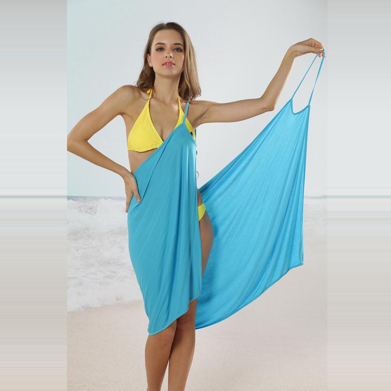 LINDA 2015 Summer new women's sleeveless cover-ups ice silk sling beach wrap dress swimwears for holiday A0337(China (Mainland))