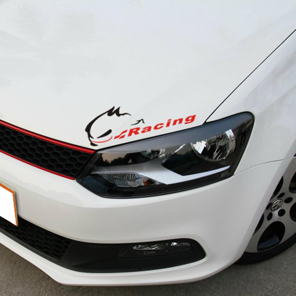 Racing Devil Rabbit Hellaflush Car Styling Reflective Vinyl Sticker Rearview Light brow / bumper Decals for VW Golf CC N-484(China (Mainland))