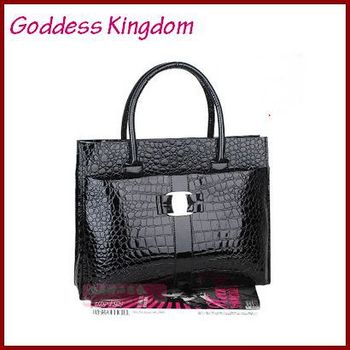 Free Shipping (1 pcs) 2015 Hot selling Luxury OL Lady Women Crocodile Pattern Handbag Tote popular leather Bag B272