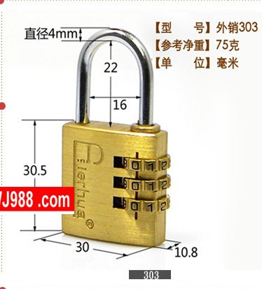 2016 new top fasion 303 brass 30mm width 3 group code padlock used for gym bag gift or boxes door(China (Mainland))