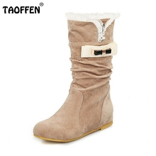 Buy Women Flat Half Short Boot Round Toe Winter Warm Mid Calf Boots Vintage Botas Fashion Footwear Shoes Size 34-43 for $22.84 in AliExpress store