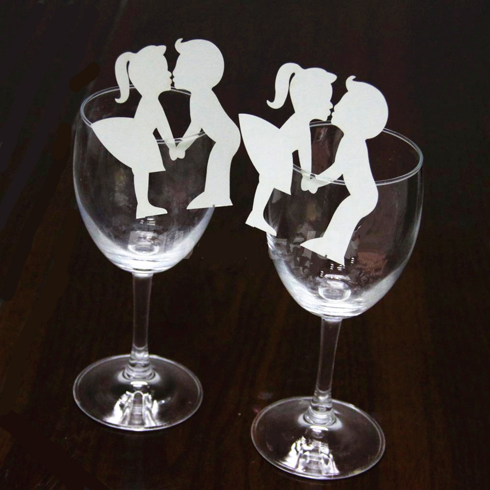 50Pcs Lot Wedding Cup card Cut Wine Glass Card Name Place Cup Escort Card Wedding Bridal