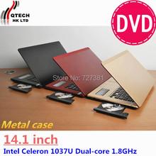 14 inch Metal Ultrabook cpu Intel 1037U Game GPU Notebook Laptop Windows7 10 4GB RAM 500GB DVD AZERTY Russian Spanish Keyboard(China (Mainland))