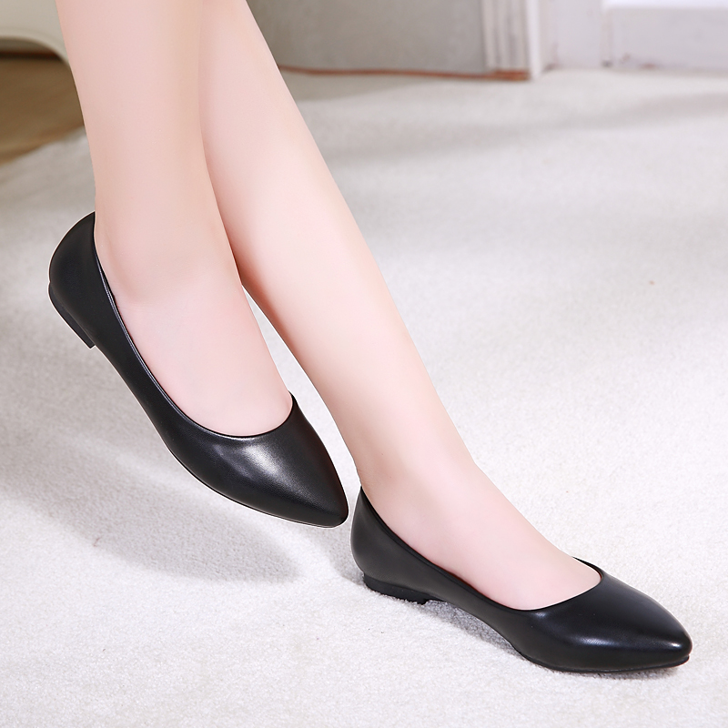 Flat Women Shoes New Leather Platform Heel Shoes White Women Pointed Toe Genuine Leather Girl Shoes(China (Mainland))