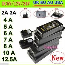 EU/US/UK/AU Power Supply Adapter Transformer AC 100-240V to DC 5V 12V 24V 1A 2A 3A 4A 5A 6A 10A LED Strip Light driver Converter(China (Mainland))