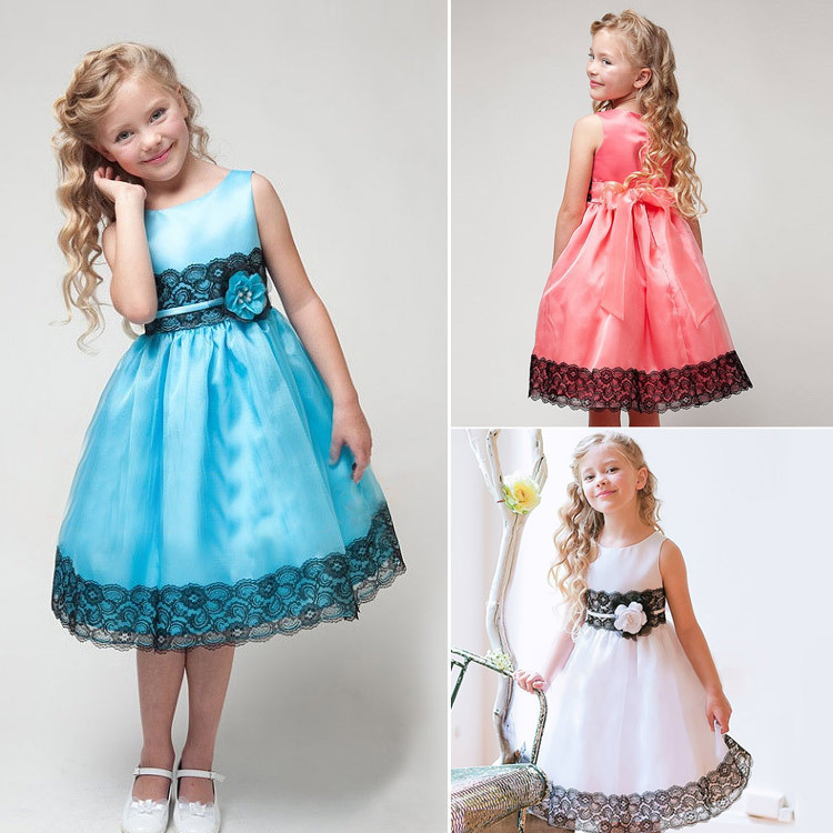 3 Colors Girls Sleeveless Silk Princess Party Dress Summer Baby Girl Lace Dresses With Bow Belt Children Kid Party Clothes CA119(China (Mainland))