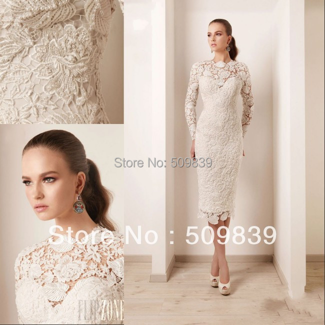 Latest Sheath Long Sleeve Tea Length Quality Made Designer Lace Wedding Dresses(China (Mainland))