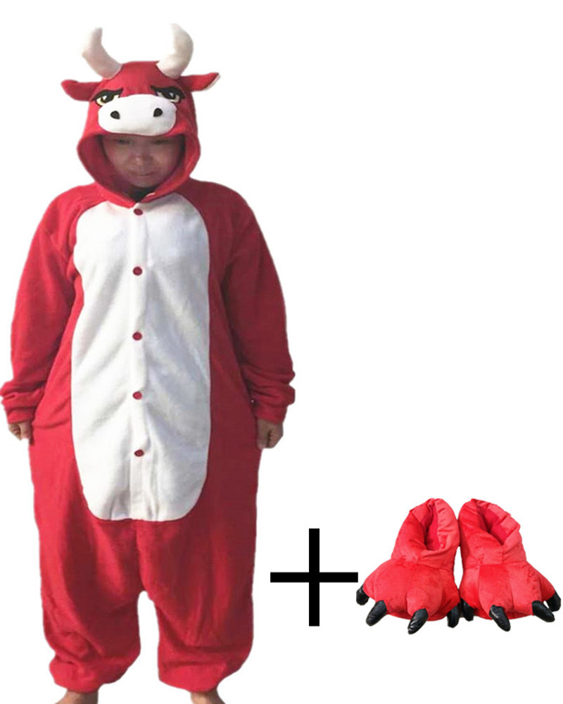 Hot Sales Red Cow Adult Ladies Onesie Novel Paw Shoes Chinese Market Online Nightgowns Women Sleepwear Long Sleeve Size(China (Mainland))