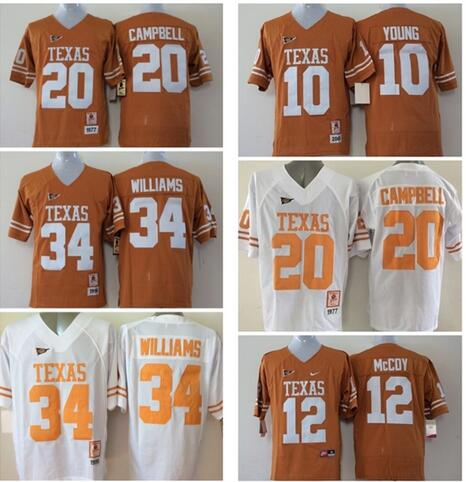 Texas Longhorns 20 Earl Campbell 10 Vince Young 34 Ricky Williams 12 McCoy College Jersey(China (Mainland))