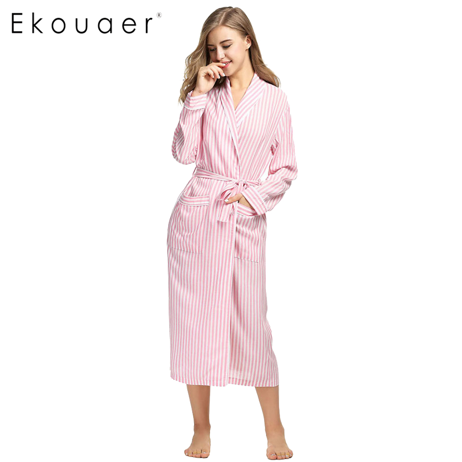 Ekouaer Long Bath Robe Home Wear Women Spa Bathrobe Night Gown Fashion Kimono For Women Blue And