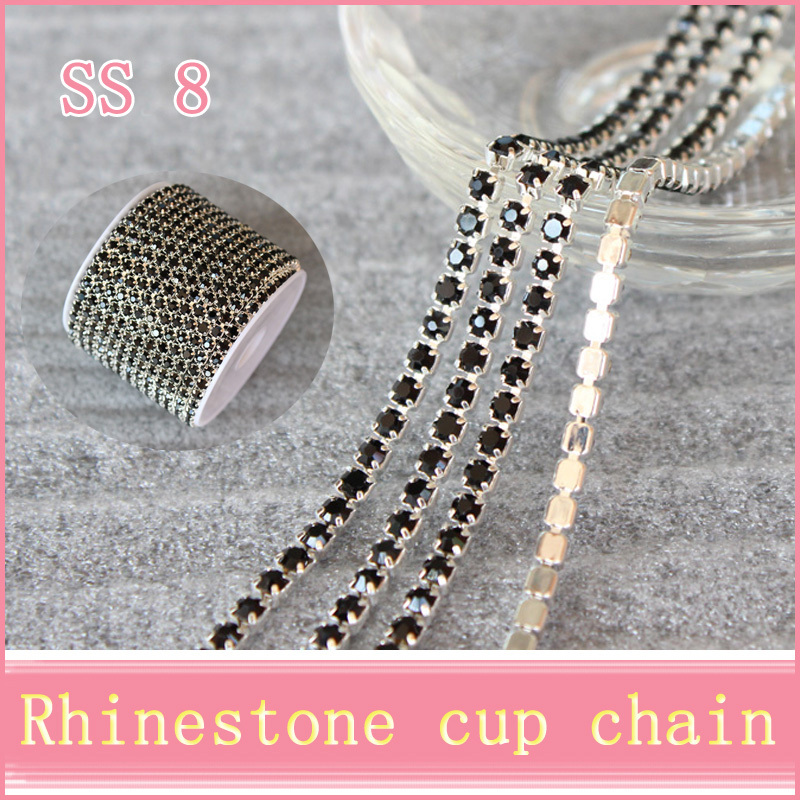 10yard SS8 Silver base black rhinestone chain with claw sew on Crystal rhinestones strass stones use for garment accessories(China (Mainland))
