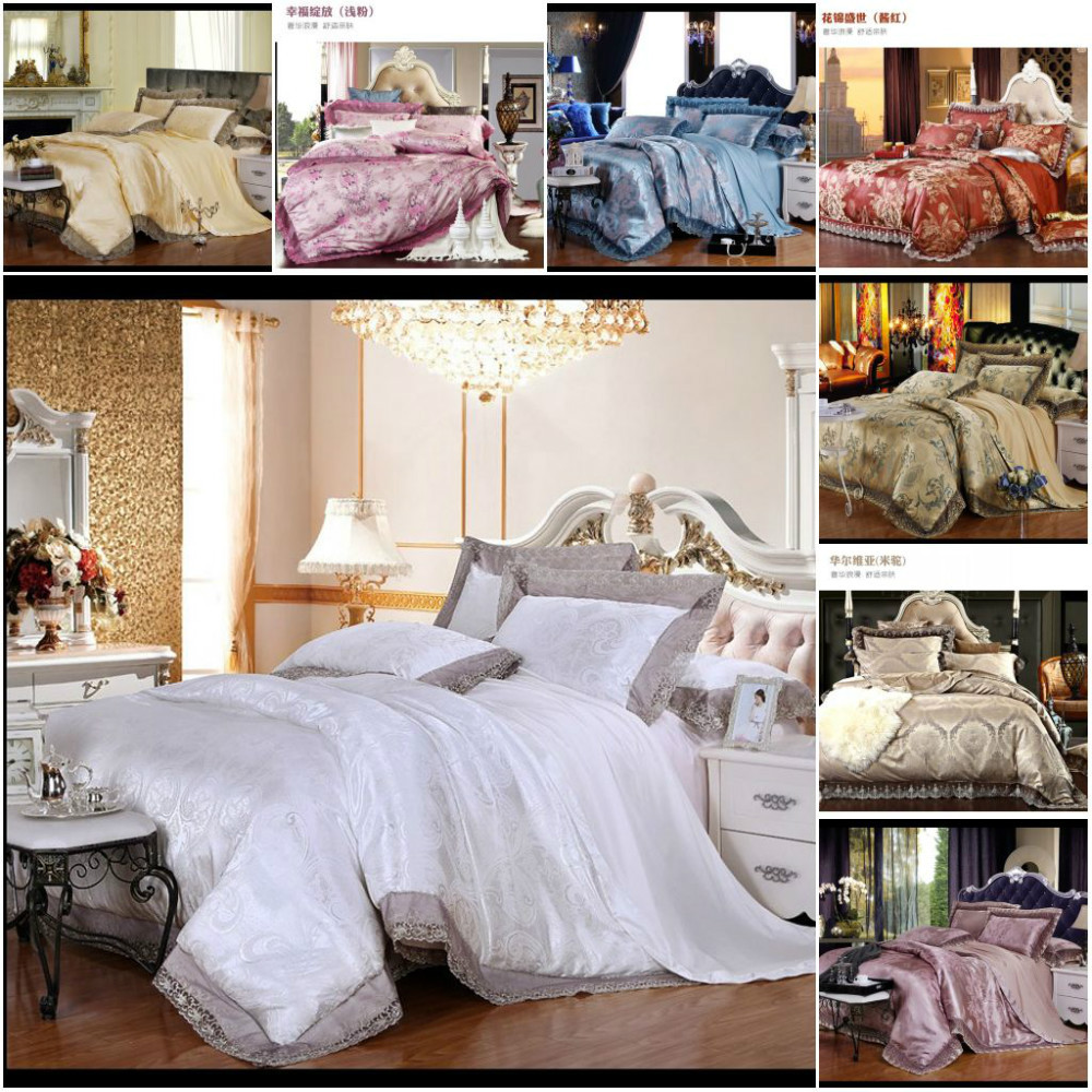 4pcs Lace Jacquard Silk Comforter Bedding Set Luxury Satin Quilt/Duvet Cover Bed Linen Cotton Bedclothes Queen King Size(China (Mainland))