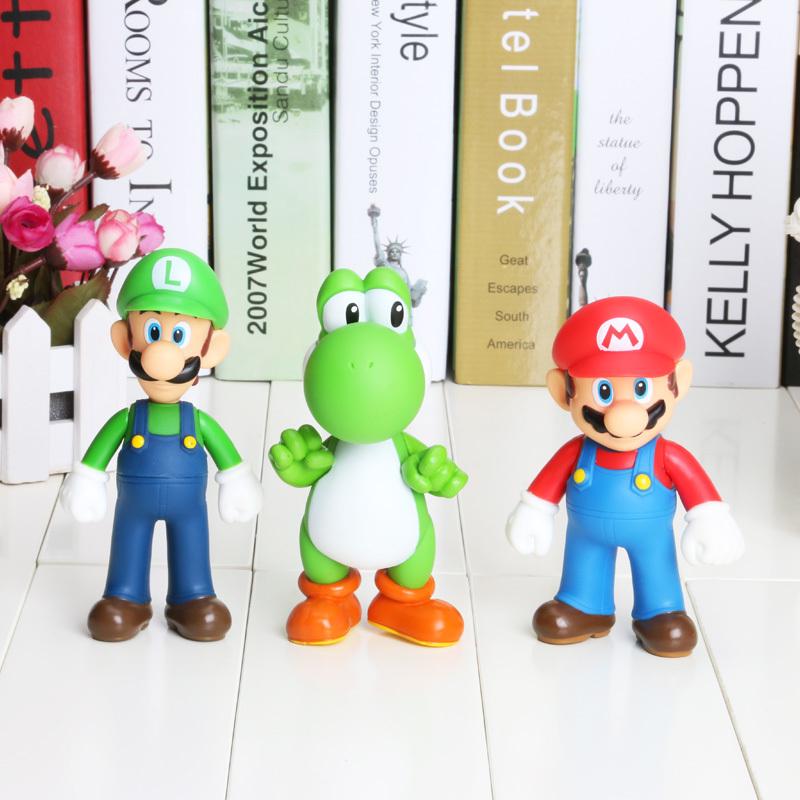 New Retail Free shipping 3pcs/lot Super Mario Bros Luigi Mario Yoshi Action Figures Toys(China (Mainland))