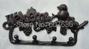 Rural Cast Iron Decorative Bird on Branch WELCOME Wall Hook Key Rack Holder Home Yard Garden Kitchen Decoration Free Shipping