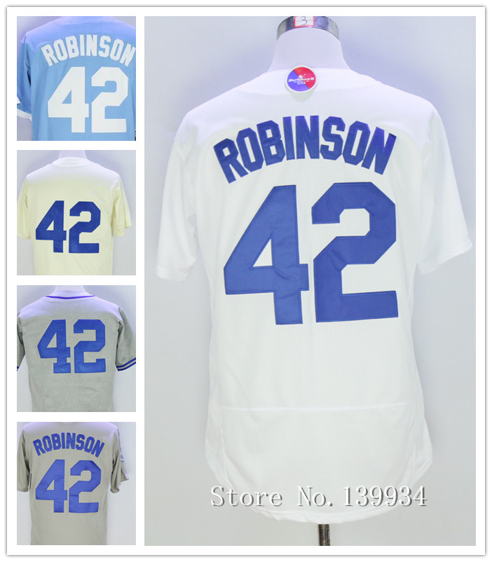 Men's 42 Jackie Robinson Jersey Gray White Cream Blue1955 1958 Throwback Jerseys 2015-2016(China (Mainland))