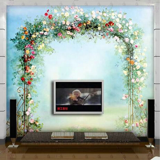 Custom any size 3d wall mural wallpapers european wreath for Custom mural wallpaper