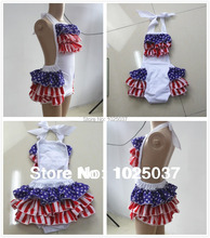 4th Of July Baby Bubble Romper Ruffled Baby Rompers Kids Jumpsuit Baby Girls Boutique Clothing Toddler(China (Mainland))