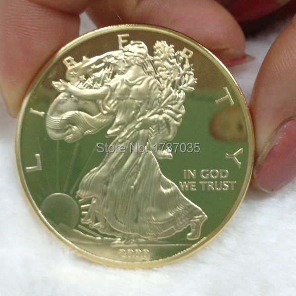 2pcs/lot Sample order 1oz 24k gold plated 2000 liberty eagle coin plated pure gold coin(China (Mainland))