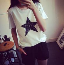 women t shir 2016 Ladies New wholesale fashion female tops Simple elegant women's Letter Printed short sleeve casual T-shirt(China (Mainland))
