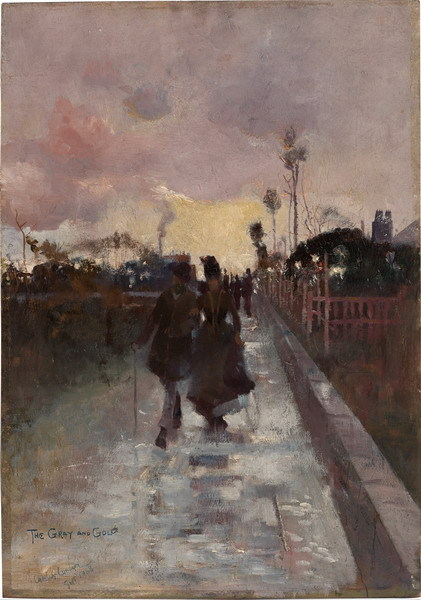 Canvas Painting Wall Art Home Decoration:Going Home (The Gray and Gold) by Charles Conder(China (Mainland))