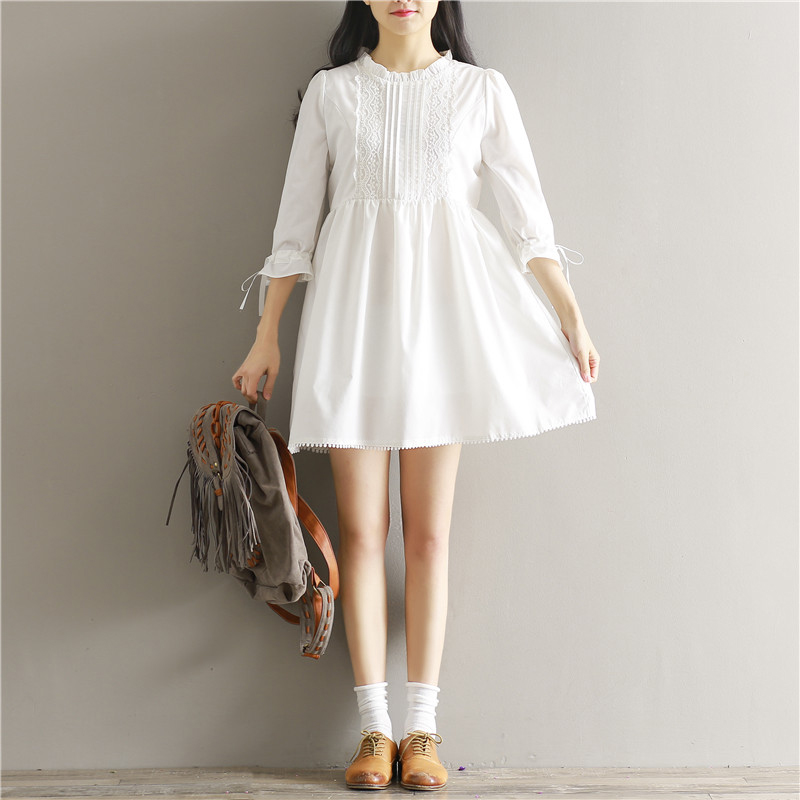Mori Girl Women White Casual Loose 3/4 Sleeve A Line Short Mini Dress Ruffled Neck Party Dating Lace Dresses Vestidos S-XL(China (Mainland))