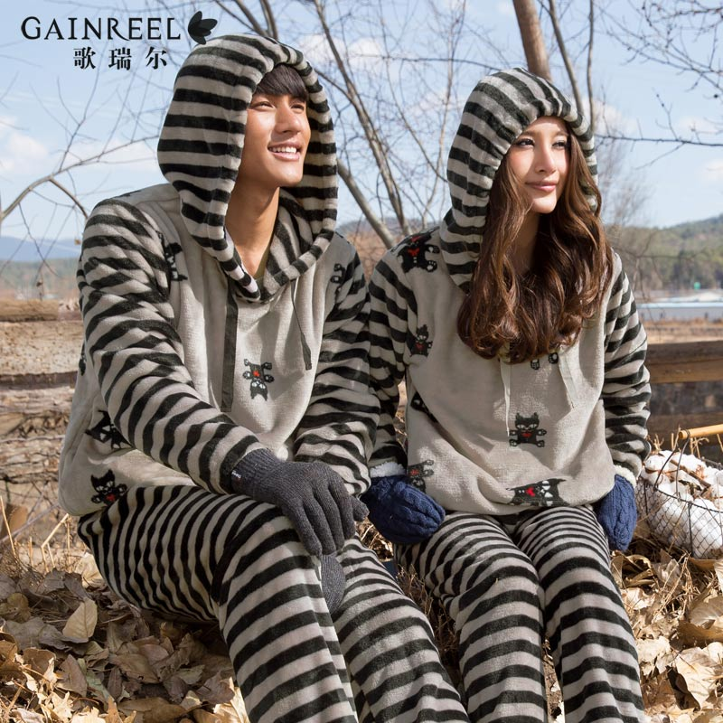 Song Riel autumn and winter flannel pajamas cartoon couple home service men and women fashion hooded