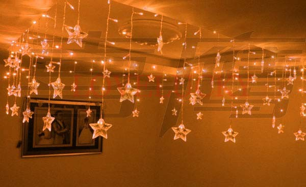 Yellow 3.5m Stars LED String Curtain Lights Christmas Wedding Party Room Decoration Chandelier ...