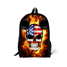cool skull print children school bags for student teenage boys punk style kids schoolbags student book bag mochila masculina(China (Mainland))