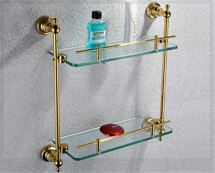 Free shiping copper gold paint double layer glass shelf shelving bathroom shelf bathroom shelf GB012d-1 bath faucet torneira ba(China (Mainland))