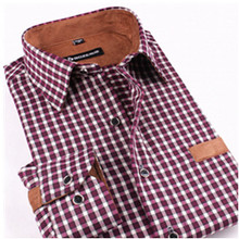 Port&Lotus Men Thick Shirt Long Sleeve Plaid Patchwork Casual Shirts camisa masculina chemise homme148 men clothing wholesale(China (Mainland))