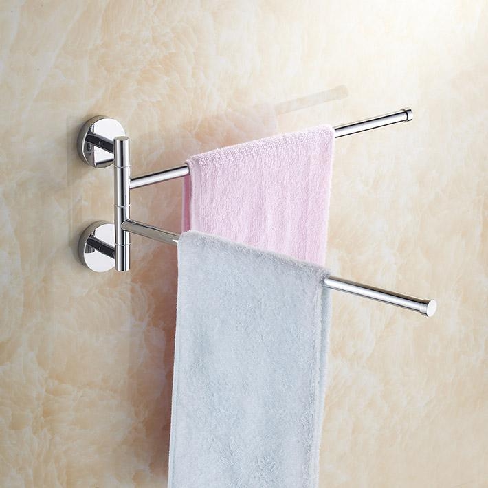 Brass Chrome Polished 360 Degree Rotating Dual Towel Bars