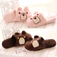 Chocolate Bear + Pink Teddy Bear Plush floor drag couple lovers warm slippers at home slipper shoes woman 2013 free shipping(China (Mainland))