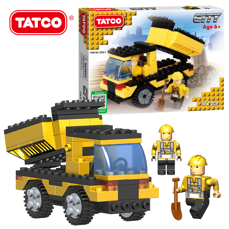 TATCO 122pcs Kids Educational City Series Toys Yellow Color Blocks Children's Transport Truck DIY Best Classic Building Blocks(China (Mainland))