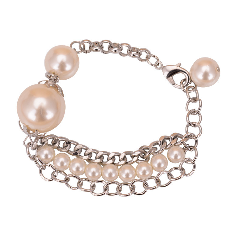 Big Pearls Charms Alloy Chain & Link Bracelet With Strand Pearls 3 Pieces/lot Fashion Pearl Jewelry Bracelet For Women(China (Mainland))