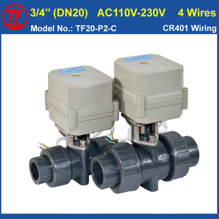 Фотография DN20 Electric PVC Valve TF20-P2-C AC110V-230V 4 Wires  BSP/NPT 3/4