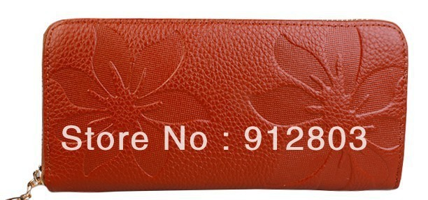 [ANYTIME] Factory Wholesale - Women's Female Long Design Zipper Cowskin Genuine Leather Ladies' Noble Clutch Wallet Evening Bag