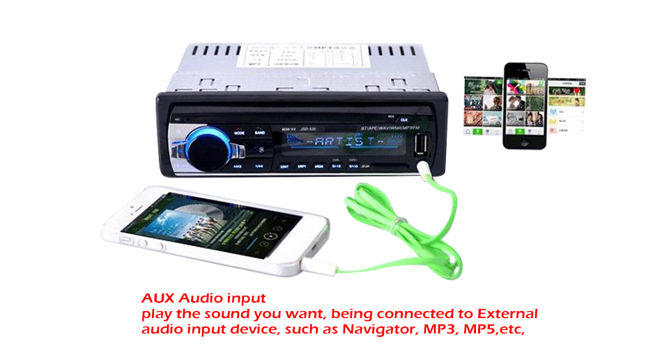 12V Bluetooth Car Stereo FM Radio MP3 Audio Player 5V Charger USB SD AUX APE FLAC