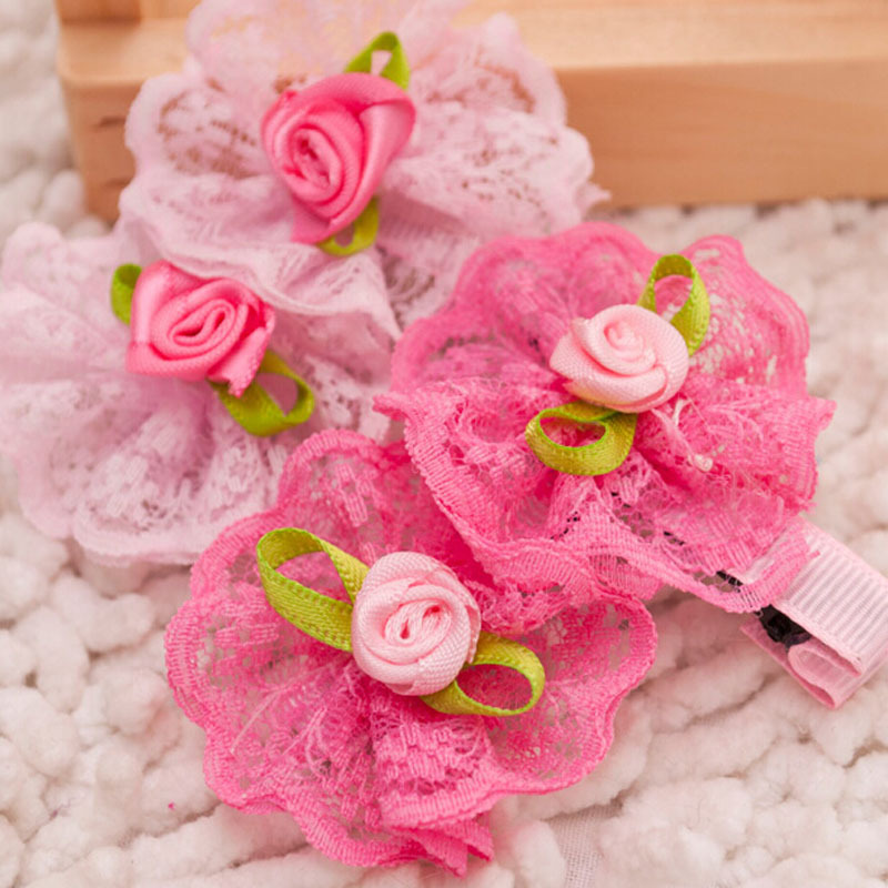 2pcs/lot Cute Flower Pet Grooming Accessories New Designs Pink Rose Small Dog Cat Hair Clips Decorated With Lace Boutique Retail(China (Mainland))