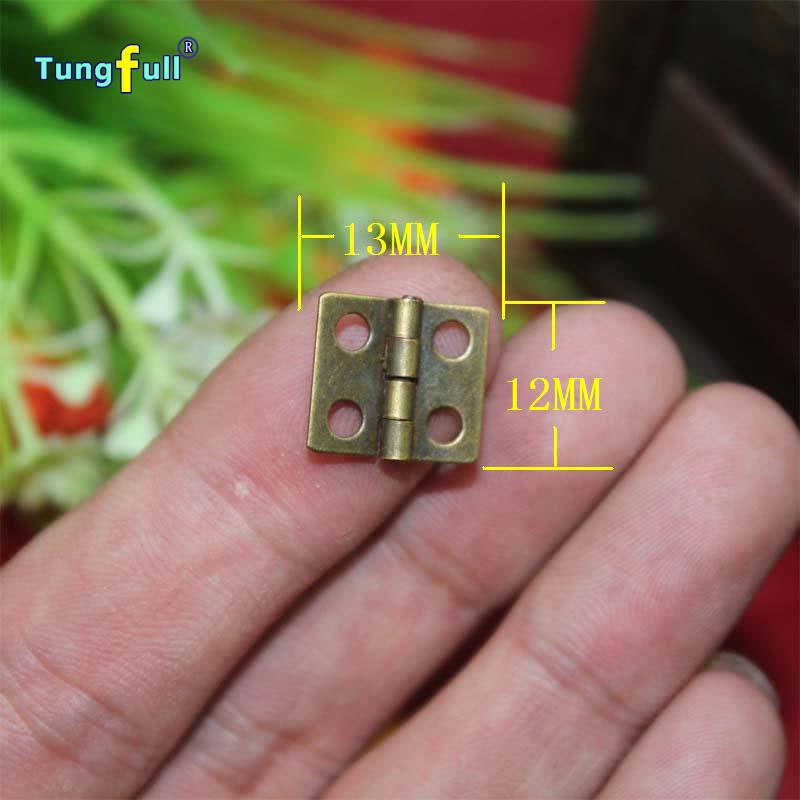 Fast Shipping In Stock 50pcs 13*12mm antique wooden gift box hinge special small metal wooden box hinge(China (Mainland))