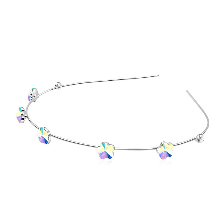 Vintage Fashion 5 Color Crystal Flower Hair Bands Jewelry Crystals from Swarovski Hair Accessories Sterling Silver(China (Mainland))