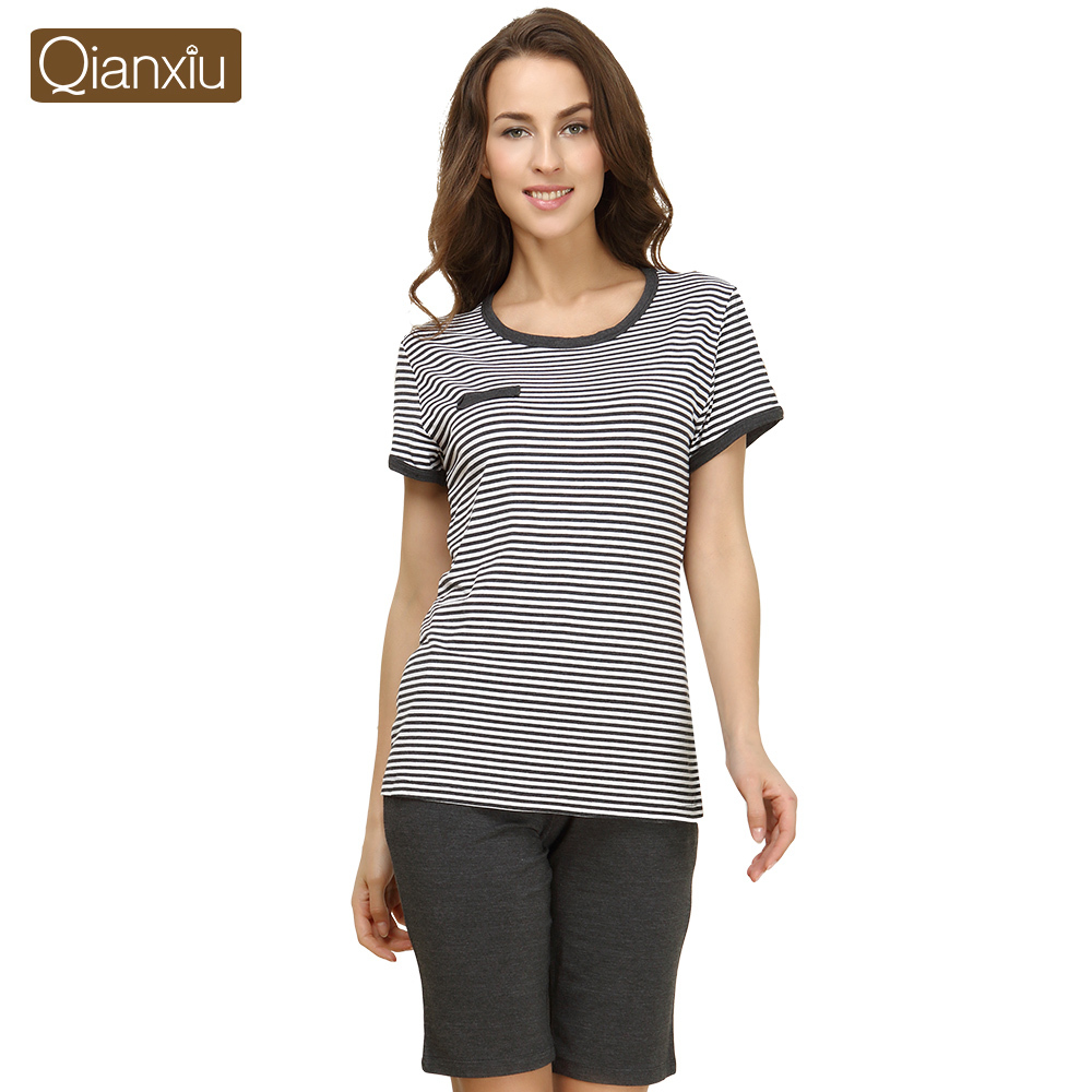 Qianxiu Brand Pajamas Knitted Modal Lounge Wear O-neck Sleepwear Women Pajamas Free Shipping