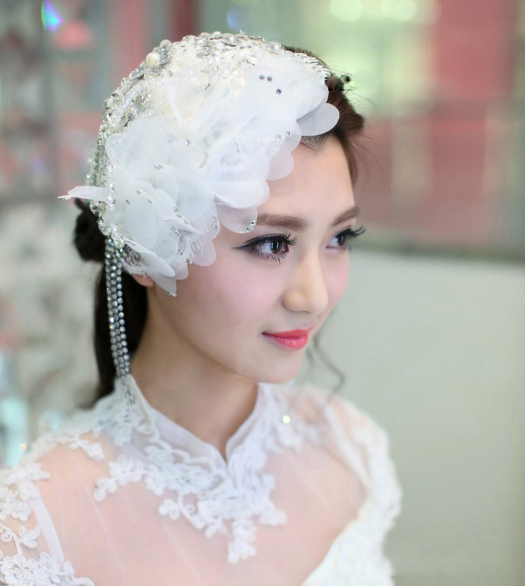 2016 Brand Handmade Bride White Lace Fringe Rhinestone Hair Clip Wedding Women Fascinator Top Clips Fringing Dress Hat Headwear(China (Mainland))