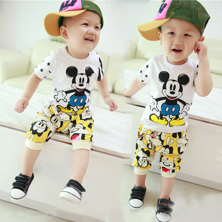 2016 Summer Baby boy set minnies baby clothes Cotton Mickey baby Clothes set 2PCS