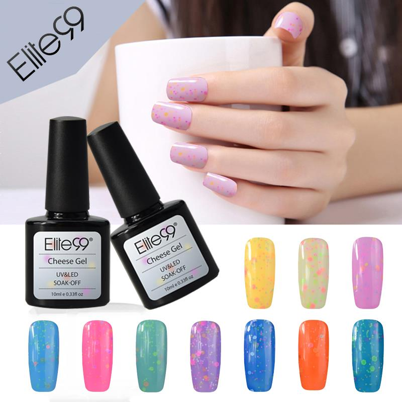 Elite99 Nail Gel Nail Polishes 10ml Cheese Candy Good Cheese Effect Candy Color Set (8 Colors 2 Milky Color 7ml Top Base Coat)(China (Mainland))