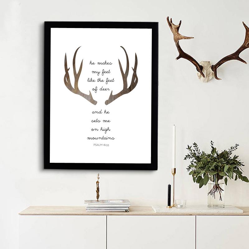 Deer Bible Verse Print Art Canvas Poste, Modern Christian
