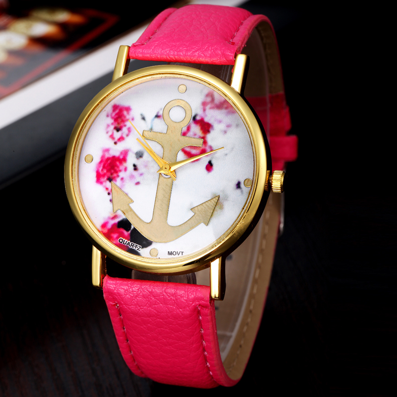 2015 Reloj, Vogue Women Watch Leather Floral Printed Watches Anchor Quartz Dress Wrist Watch Casual Mujer Relogio High Quality<br><br>Aliexpress