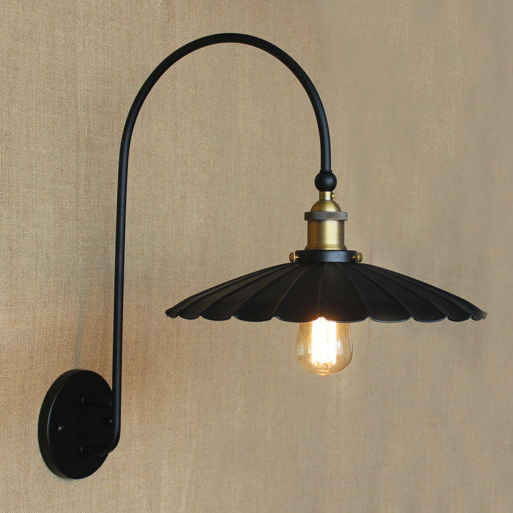 Фотография American Countryside Industry Vintage Iron Wall Lamp Personality Black Loft Retro Umbrella Bedroom Wall Light Free Shipping