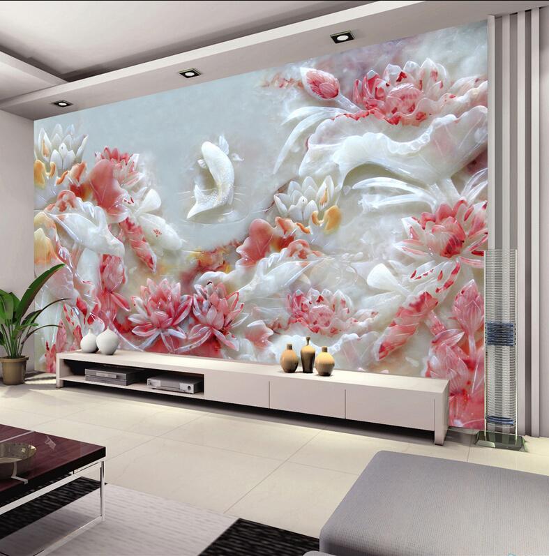 Jogo Do Quarto Vermelho Crimson Room ~ 3D jogo de l?tus peixe em relevo papel de parede TV fundo sala quarto